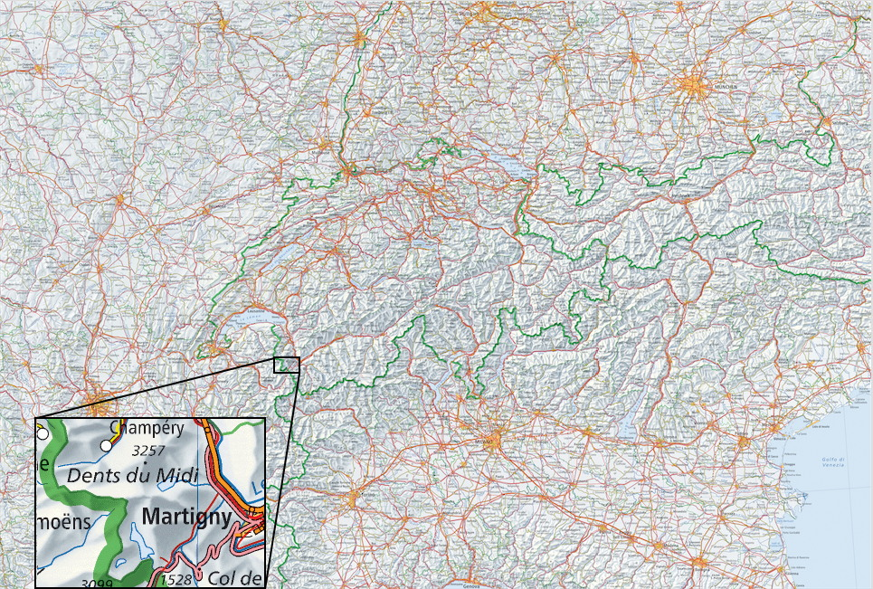 Multiplans switzerland and surrounding regions at scale 11mio download it from page maps gumiabroncs Images
